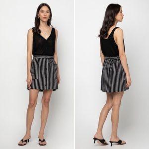 Oak + Fort Black Striped Button Mini Skirt XS NWT